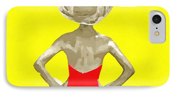 Bathing Beauty Red Suit Painting IPhone Case by Edward Fielding