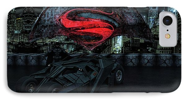IPhone Case featuring the photograph Batman Versus Superman by Louis Ferreira