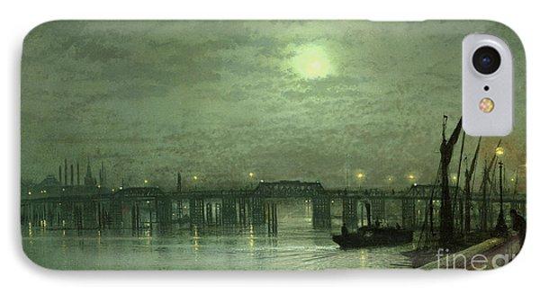 Battersea Bridge By Moonlight IPhone 7 Case by John Atkinson Grimshaw