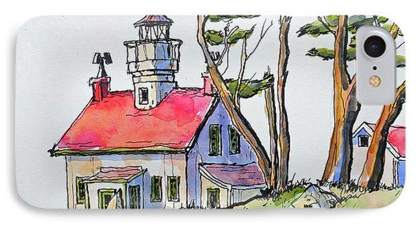 IPhone Case featuring the painting Battery Point Lighthouse by Terry Banderas