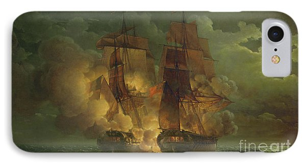 Battle Between The Arethuse And The Amelia IPhone Case by Louis Philippe Crepin