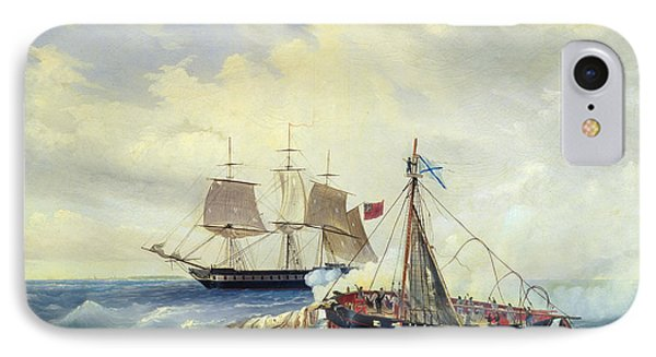 Battle Between The Russian Ship Opyt And A British Frigate Off The Coast Of Nargen Island  Phone Case by Leonid Demyanovich Blinov