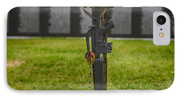 Battle Field Cross At The Traveling Wall IPhone Case by Paul Freidlund