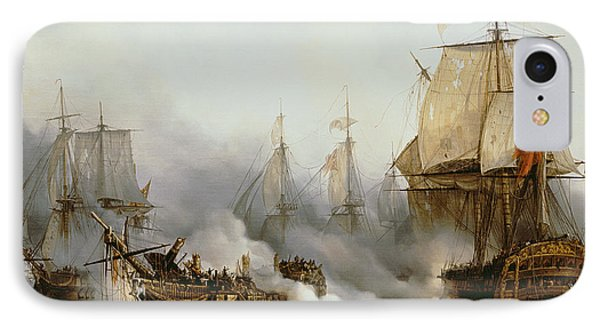 Boat iPhone 7 Case - Battle Of Trafalgar by Louis Philippe Crepin