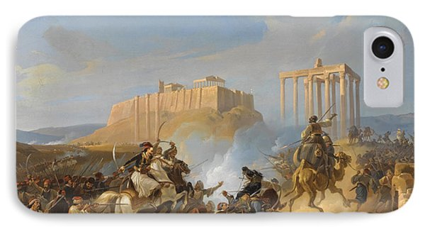 Battle Scene From The Greek War Of Independence IPhone Case by Georg Perlberg