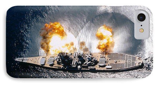Battleship Iowa Firing All Guns Phone Case by Stocktrek Images
