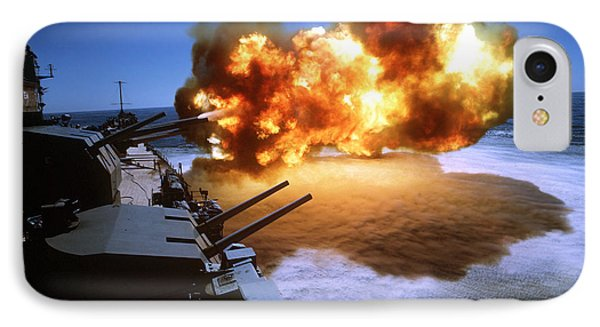 Battleship Uss Missouri Fires One Phone Case by Stocktrek Images