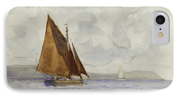 IPhone Case featuring the painting Bawley Running Up The Coast by Henry Scott Tuke