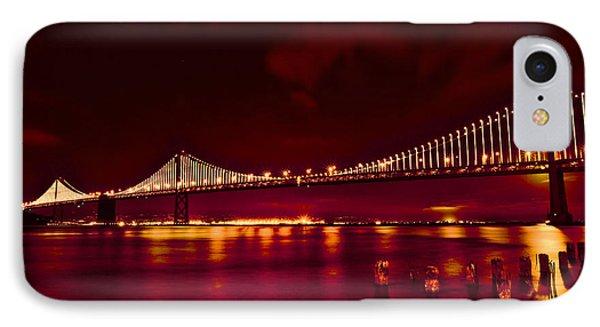 Bay Bridge Lights IPhone Case by Kim Wilson