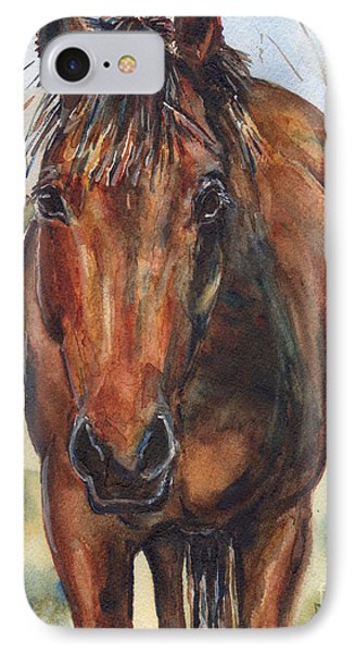 Bay Horse Painting In Watercolor IPhone Case