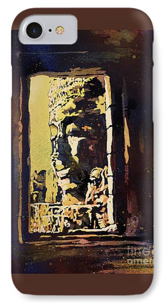 IPhone Case featuring the painting Bayon IIi- Cambodian Ruins, Angkor Wat by Ryan Fox