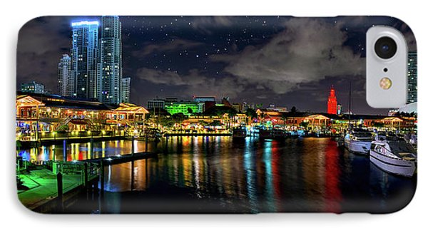 Bayside Miami Florida At Night Under The Stars IPhone Case by Justin Kelefas