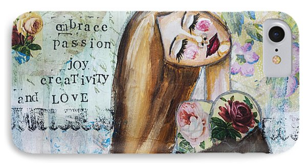 IPhone Case featuring the mixed media Be Brave Inspirational Mixed Media Folk Art by Stanka Vukelic