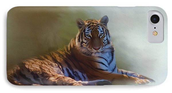 Be Calm In Your Heart - Tiger Art IPhone Case by Jordan Blackstone