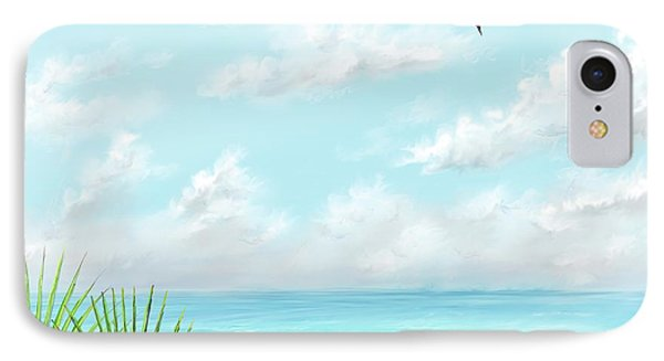 IPhone Case featuring the digital art Beach And Palms by Darren Cannell