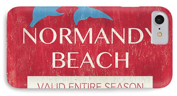 Beach Badge Normandy Beach IPhone Case by Debbie DeWitt