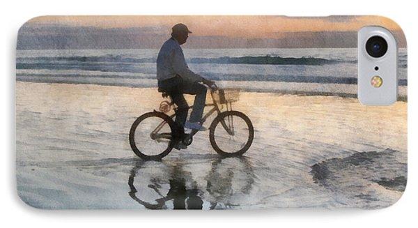 IPhone Case featuring the digital art Beach Biker by Francesa Miller