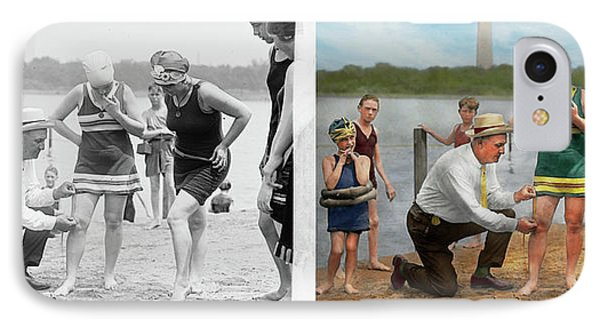 Beach - Cop A Feel 1922 - Side By Side IPhone Case by Mike Savad