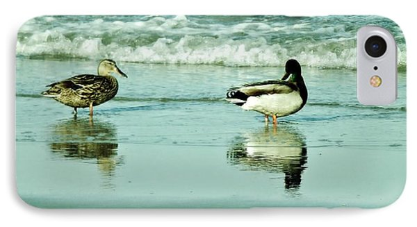 Beach Ducks IPhone Case by John Wartman