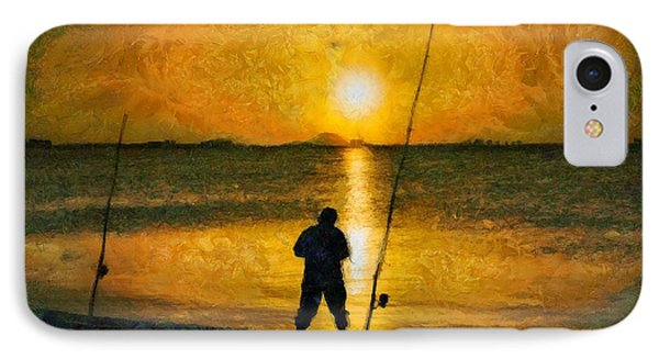 IPhone Case featuring the photograph Beach Fishing  by Scott Carruthers
