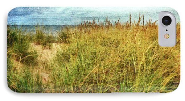 IPhone Case featuring the digital art Beach Grass Path - Painterly by Michelle Calkins