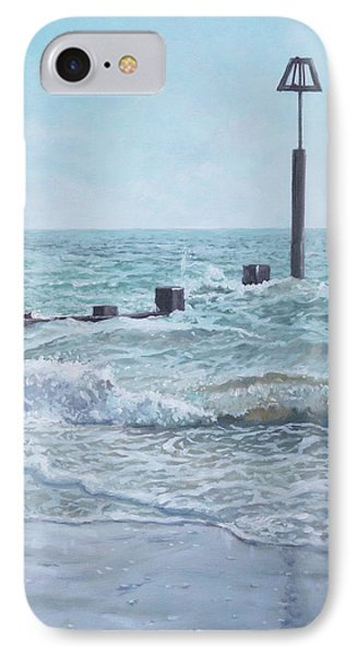 IPhone Case featuring the painting Beach Groin With Autumn Waves by Martin Davey