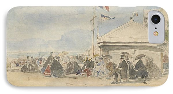 Beach House With Flags At Trouville IPhone Case by Eugene Boudin