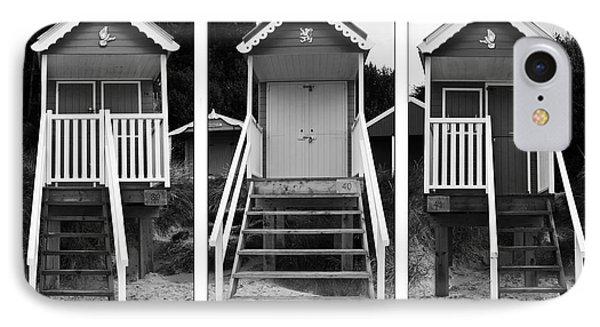 Beach Hut Triptych IPhone Case by John Edwards