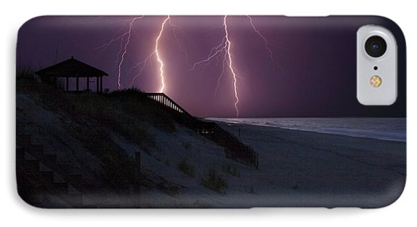 Beach Lighting Storm IPhone Case by Randy Steele
