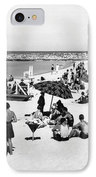 Beach Scene At Cape Cod IPhone Case by Underwood Archives
