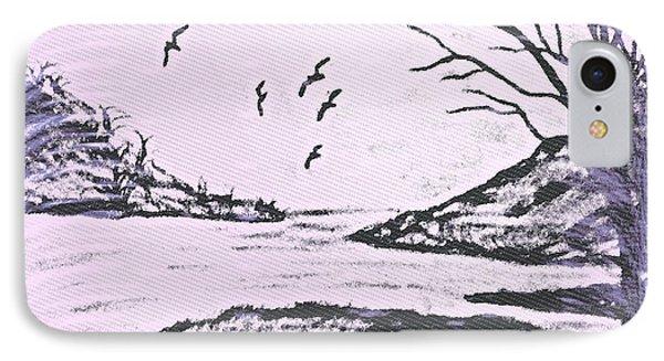 Beach Scene Pencil In Pink And Black IPhone Case by Debra Lynch