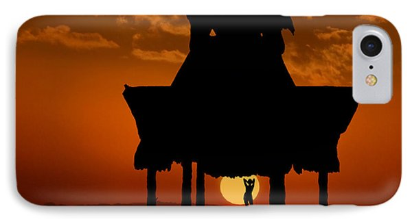 IPhone Case featuring the photograph Beach Shelter At Sunset by Joe Bonita