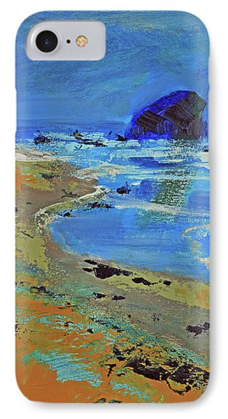 IPhone Case featuring the painting Beach Solitude by Walter Fahmy