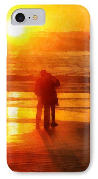 IPhone Case featuring the digital art Beach Sunrise Love by Francesa Miller