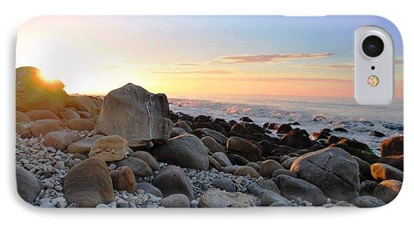Beach Sunrise Over Rocks IPhone Case by Matt Harang