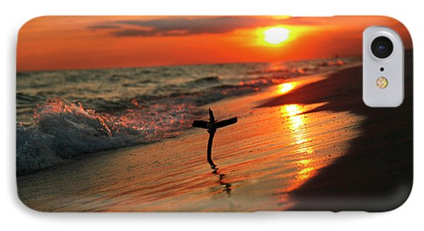 Beach Sunset And Cross IPhone Case by Luana K Perez