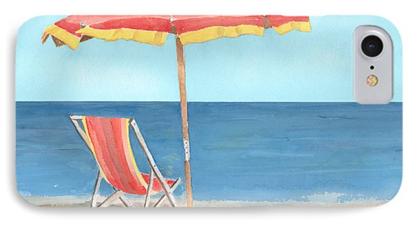 Beach Umbrella Of Stripes Phone Case by Arline Wagner