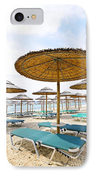 Beach Umbrellas And Chairs On Sandy Seashore IPhone Case by Elena Elisseeva