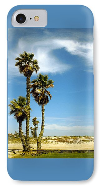 Beach View With Palms And Birds Phone Case by Ben and Raisa Gertsberg