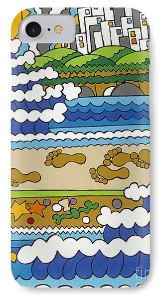 Beach Walk Foot Prints IPhone Case by Rojax Art