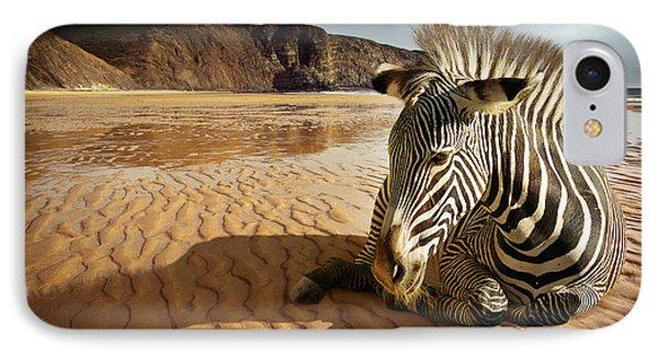 Beach Zebra Phone Case by Carlos Caetano