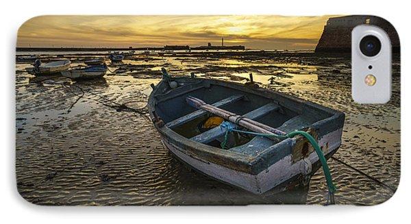 Beached Boat On La Caleta Cadiz Spain IPhone Case by Pablo Avanzini