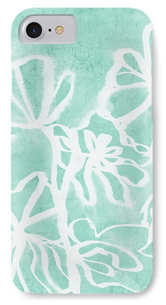 IPhone Case featuring the mixed media Beachglass And White Flowers 2- Art By Linda Woods by Linda Woods