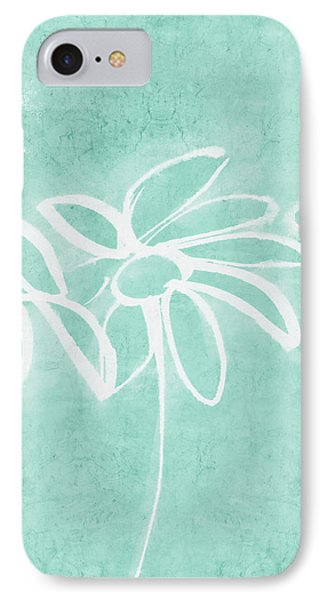 IPhone Case featuring the mixed media Beachglass And White Flowers 3- Art By Linda Woods by Linda Woods