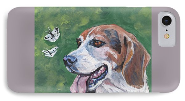 IPhone Case featuring the painting Beagle And Butterflies by Lee Ann Shepard