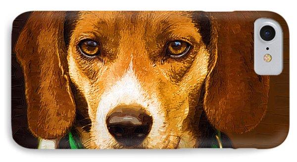 Beagle Hound Dog In Oil Phone Case by Kathy Clark