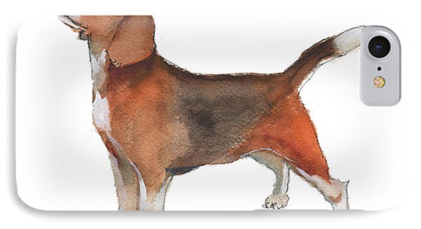 Beagle Watercolor Painting By Kmcelwaine IPhone Case by Kathleen McElwaine