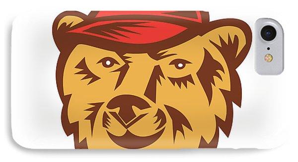 Bear Head Wearing Hat Woodcut IPhone Case