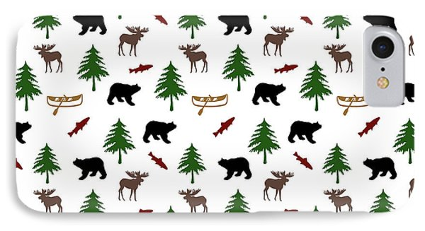 IPhone 7 Case featuring the mixed media Bear Moose Pattern by Christina Rollo