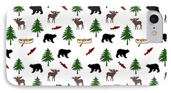 IPhone Case featuring the mixed media Bear Moose Pattern by Christina Rollo